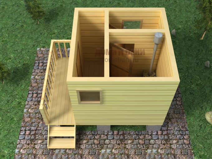 Деревянная баня 3х4 своими руками 56