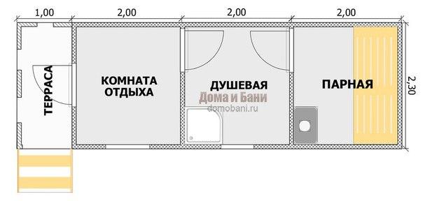 план готовой бани